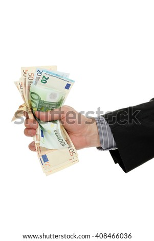 hand with euro banknotes isolated on white