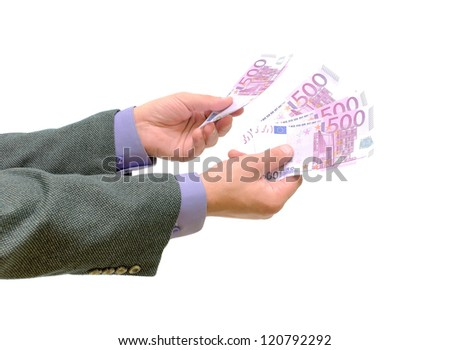 hand with euro money on white background - stock photo