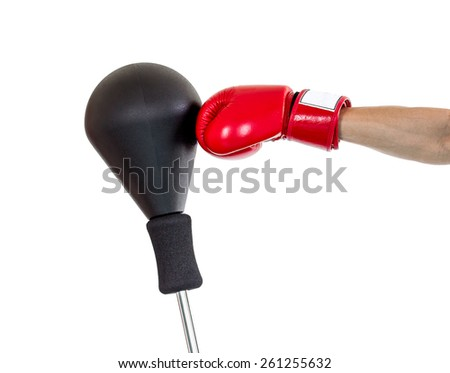 hand with glove punch a punching ball - stock photo