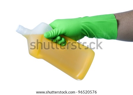 Hand with green glove holding cleaning product; isolated on white - stock photo