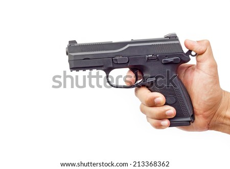 Hand with gun isolated on white background  - stock photo