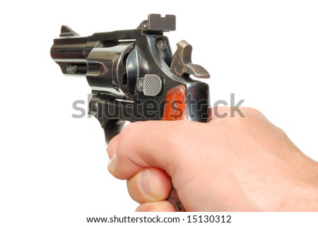 Hand with gun isolated over a white background - stock photo