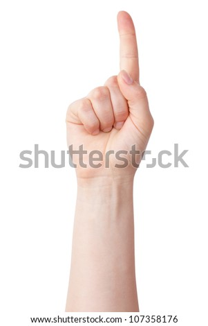 Hand with index finger raised up on a white background - stock photo