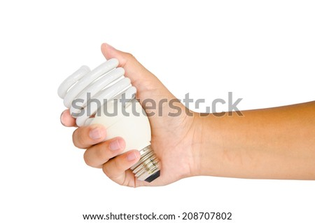 Hand with lamp on white background. clipping path - stock photo