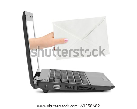 Hand with letter and notebook isolated on white background - stock photo