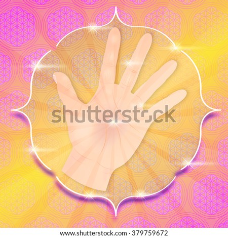 hand with light and stars - stock photo