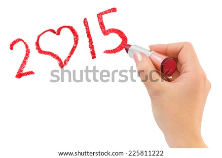 Hand with lipstick drawing 2015 isolated on white background - stock photo
