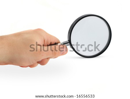 hand with magnifying glass, gentle shadow underneath