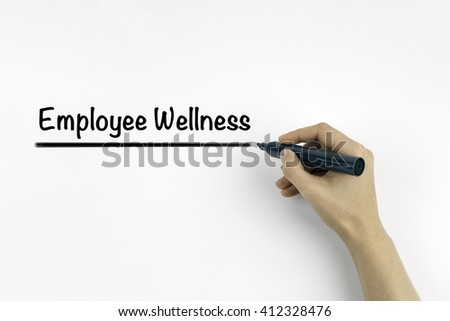 Hand with marker writing: Employee Wellness - stock photo