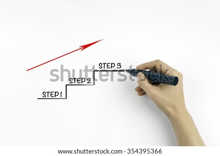 Hand with marker writing Step 1 - Step 2 - Step 3 - stock photo
