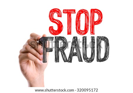 Hand with marker writing: Stop Fraud - stock photo