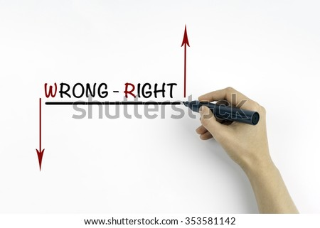 Hand with marker writing the text - Right or wrong - stock photo
