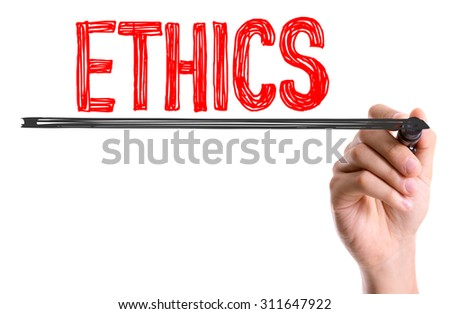 Hand with marker writing the word Ethics - stock photo