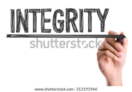 Hand with marker writing the word Integrity - stock photo