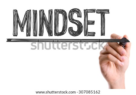 Hand with marker writing the word Mindset - stock photo