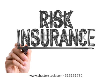 Hand with marker writing the word Risk Insurance - stock photo
