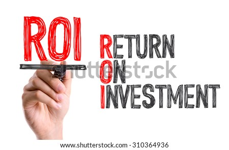 Hand with marker writing the word ROI - Return on Investment - stock photo