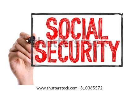Hand with marker writing the word Social Security - stock photo