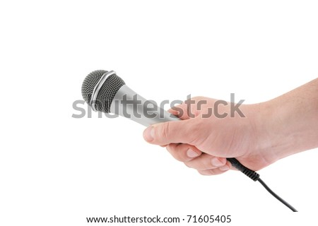 Hand with microphone isolated