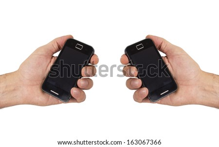 hand with mobil phone isolated