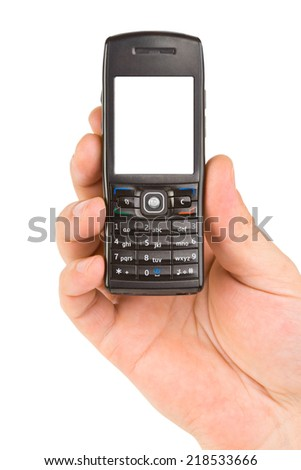 Hand with mobile phone isolated on white background