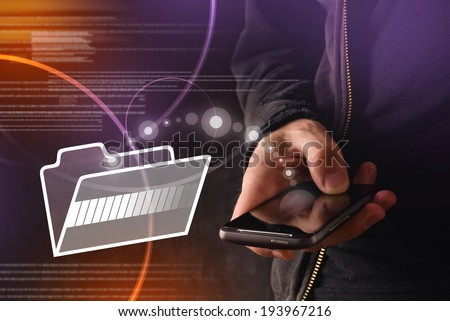 Hand with mobile smart phone transferring files to cloud folder. New technology data backup or file sharing concept. - stock photo
