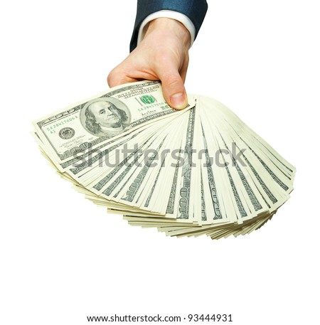Hand with money - stock photo