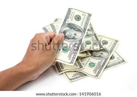 Hand with money, 100 dollar bills - stock photo