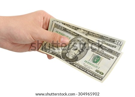 hand with money dollars isolated on white background