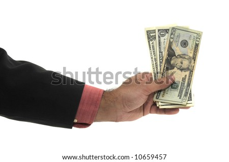 Hand with money isolated on a white background