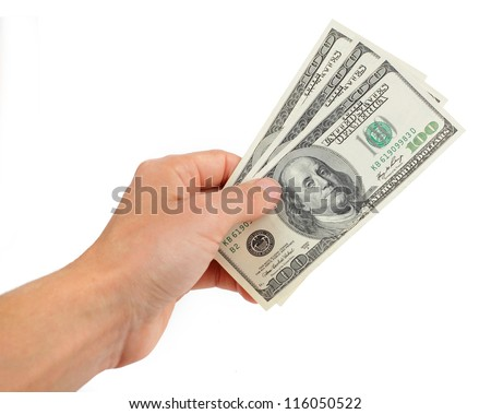 hand with money more hundred dollars isolated on white background - stock photo