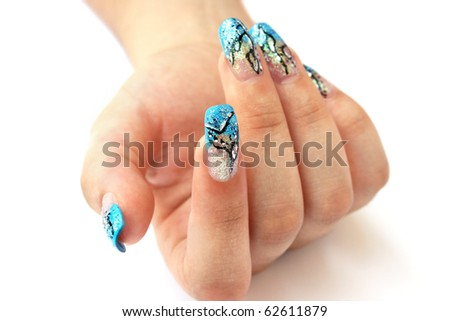 Hand with nail art isolated on white background. - stock photo