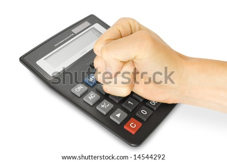 hand with office calculator isolated on white