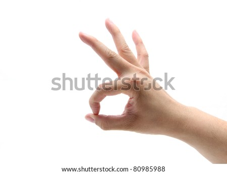 Hand with OK sign on white background. - stock photo