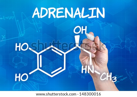 hand with pen drawing the chemical formula of adrenalin - stock photo