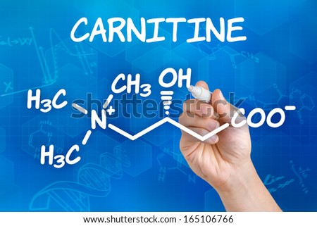 Hand with pen drawing the chemical formula of carnitine - stock photo