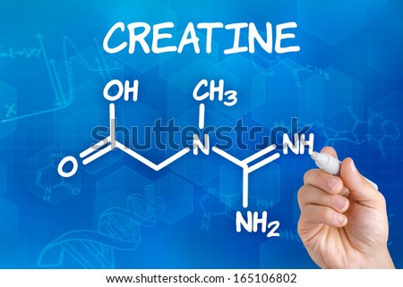 Hand with pen drawing the chemical formula of creatine - stock photo