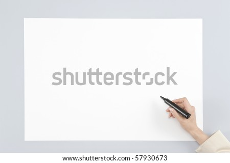 Hand with pen on white paper - stock photo