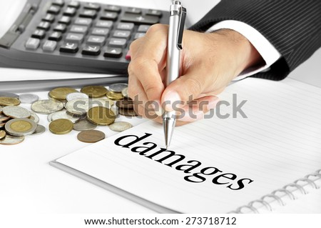 Hand with pen pointing to damages word on the paper - stock photo