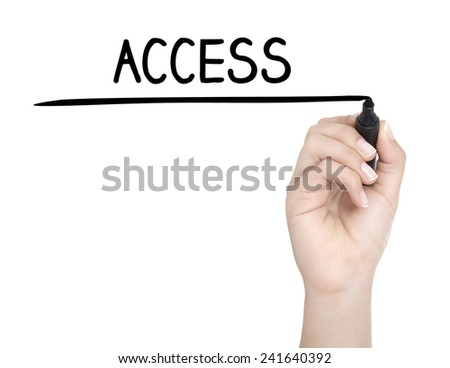Hand with pen writing ACCESS on whiteboard - stock photo