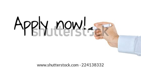 Hand with pen writing Apply now