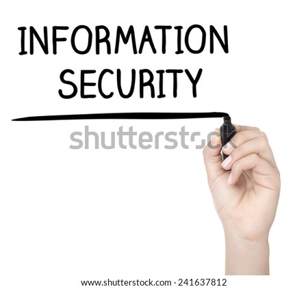 Hand with pen writing INFORMATION SECURITY on whiteboard - stock photo