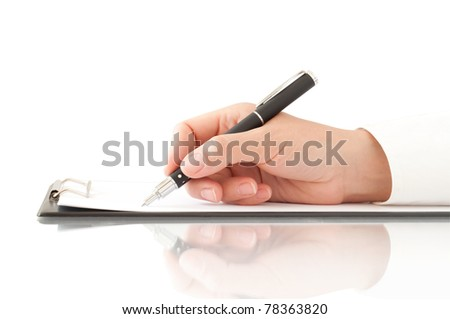 hand with pen writing on the clipboard