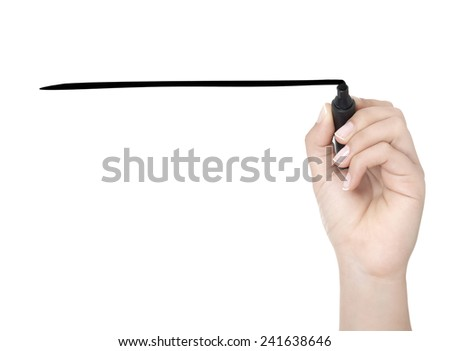 Hand with pen writing on whiteboard - stock photo