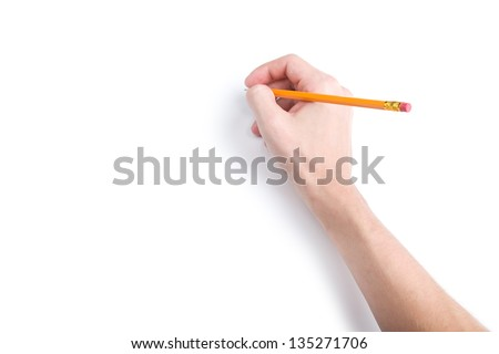 Hand with pencil on white background with shadows - stock photo