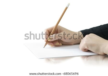 hand with pencil writing on the white page isolated on white and reflection