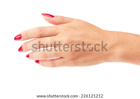 Hand with red manicure isolated on a white background - stock photo