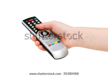 Hand with remote control isolated on white - stock photo