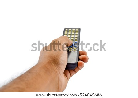 Hand with remote control isolated on white background.