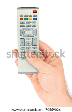 Hand with remote control isolated on white background - stock photo